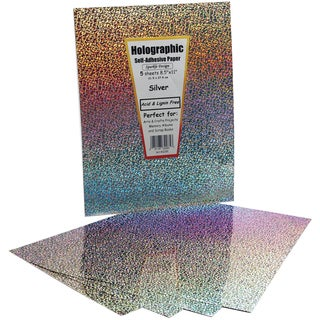 "Self-Adhesive Specialty Paper 8.5""X11"" 5/Pkg-Silver Holographic"