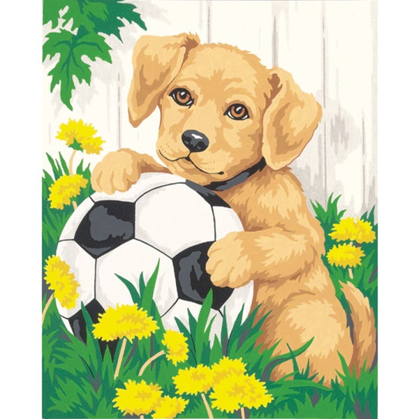 """Paint Works Paint By Number Kit 8""""X10""""-Puppy & Soccer Ball"""