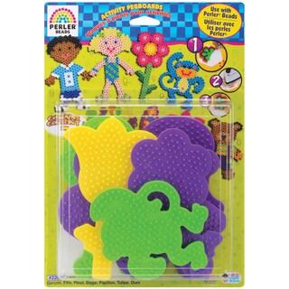 Perler Fun Fusion Pegboards 7/Pkg-Boy/Girl/Bear/Monkey/Butterfly/2 Flowers