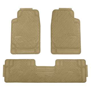 FH Group Beige All-weather Rubber Full Set Car Trimmable Floor Mats