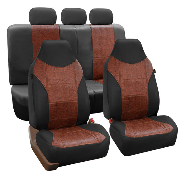 FH Group Black/ Brown PU Textured Leather Auto Seat Covers (Full Set) 14431750