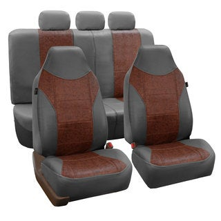 FH Group Grey/ Brown PU Textured Leather Auto Seat Covers (Full Set)