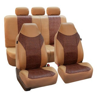 FH Group Tan/ Brown PU Textured Leather Auto Seat Covers (Full Set)