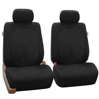 FH Group White Fabric Front Bucket Seat Covers (Set of 2)