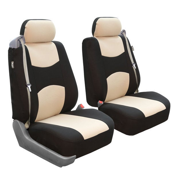FH Group Beige/ Black Flat Cloth Front Bucket Seat Covers (Set of 2)