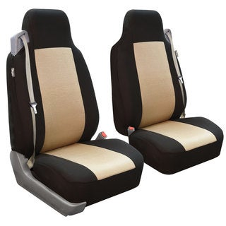 FH Group Beige/ Black Fabric Front Bucket Seat Covers (Set of 2)