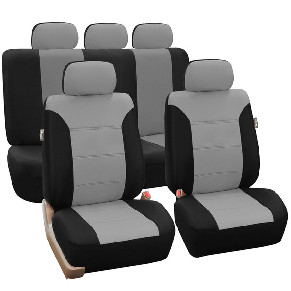 FH Group Grey/ Black Khaki Car Seat Covers (Full Set)