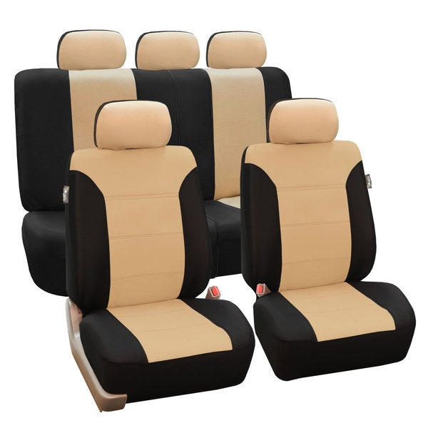 FH Group Beige/ Black Khaki Car Seat Covers (Full Set)