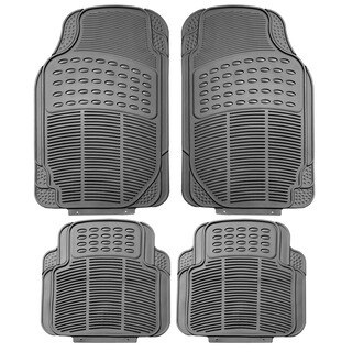 FH Group Grey Trimmable Rubber Full Set Floor Mats