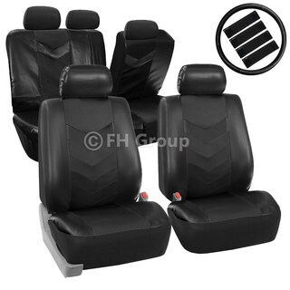FH Group Black Synthetic Leather Car Seat Covers (Full Set)
