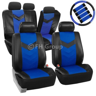 FH Group Blue Synthetic Leather Car Seat Covers (Full Set)