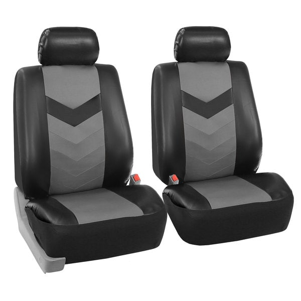 FH Group Grey/ Black Synthetic Leather Car Seat Covers (Full Set) 14431796