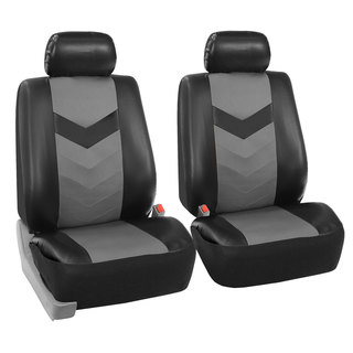 FH Group Grey/ Black Synthetic Leather Car Seat Covers (Full Set)