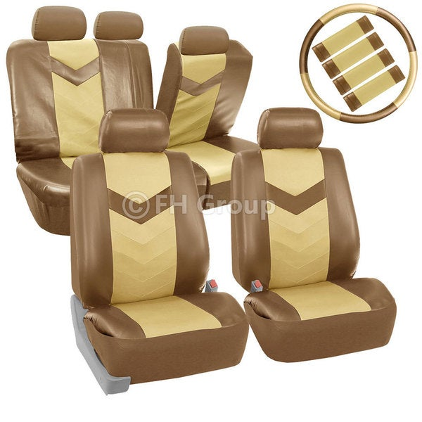 FH Group Tan/ Beige Synthetic Leather Car Seat Covers (Full Set) 14431798