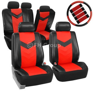 FH Group Red Synthetic Leather Car Seat Covers (Full Set)