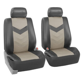 FH Group Grey Synthetic Leather Car Seat Covers (Full Set)
