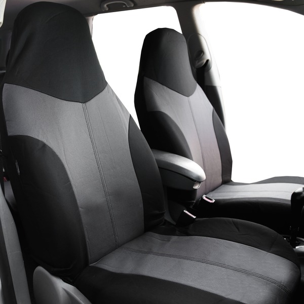 FH Group Grey/ Black Supreme Twill Fabric Auto Seat Covers (Full Set) 14431802
