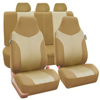 FH Group Beige Tan Supreme Twill Fabric Auto Seat Covers (Full Set)