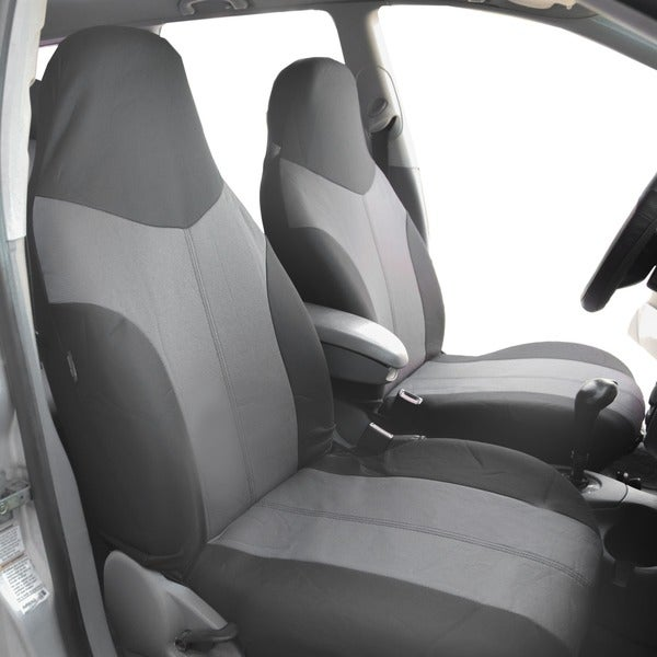 FH Group Grey Supreme Twill Fabric Auto Seat Covers (Full Set) 14431804