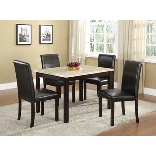 K and B Black Leatherette Upholstered Parson Chairs (Set of 4)