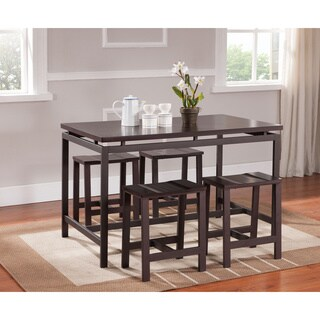 K&B Brown Wooden Backless Dining Stools (Set of 4)