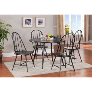K and B Black Finished Wood Slat-back Dining Chairs (Set of 2)