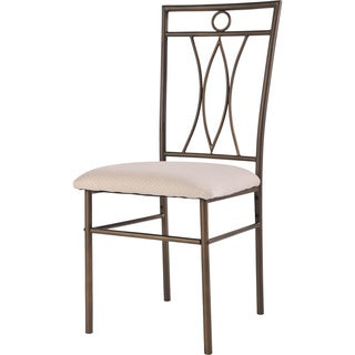 K&B Bronzetone Metal and Ivory Dining Chair (Set of 2)