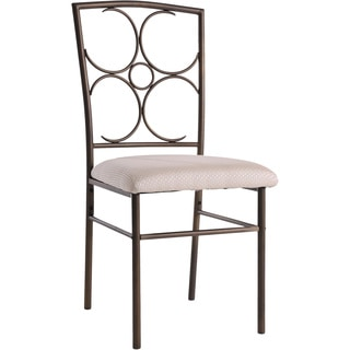 K&B Bronze Metal and Ivory Fabric Dining Chairs (Set of 4)