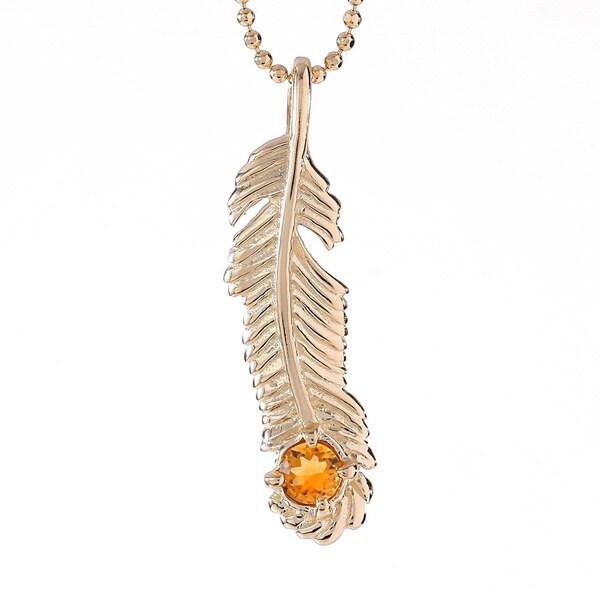 18k Goldplating Sterling Silver Citrine November Birthstone Feather Necklace