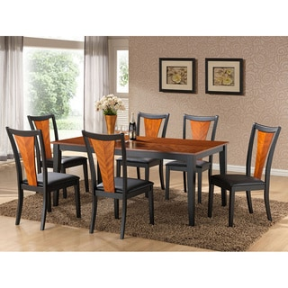 K&B Black Wood Accent Dining Chair (Set of 2)