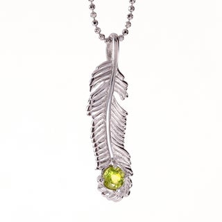 Rhodium-plated Sterling Silver Peridot August Birthstone Feather Necklace