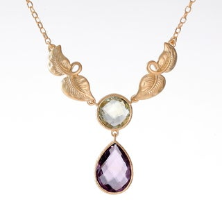 Sand Blasted 18k Goldplated Sterling Silver Cushion-cut Green and Pear Amethyst Leaf Necklace