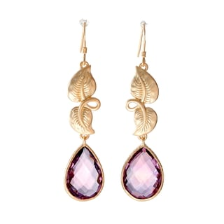 Sand Blasted 18k Goldplated Sterling Silver Cushion-cut Pear Amethyst Leaf Earrings