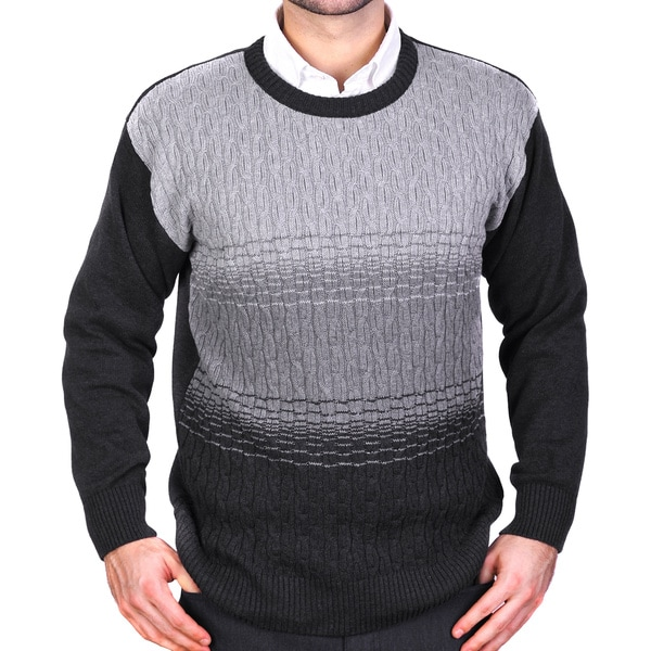 Tosani Men's Grey Cable-knit Cotton Sweater