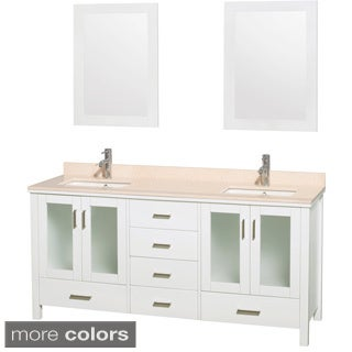 Wyndham Collection Lucy White Double Bathroom Vanity and 24-inch Mirror