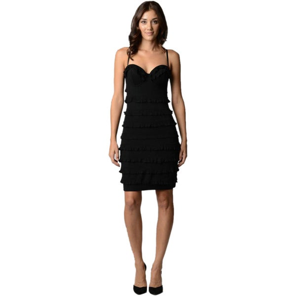 Sara Boo Women's Black Ruffle Tiered Cocktail Dress