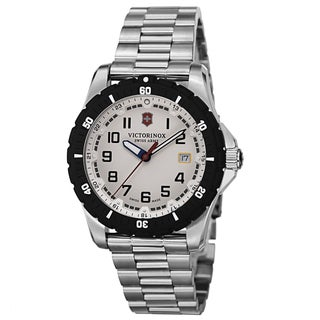 Swiss Army Men's V241677 'Maverick' Silver Dial Stainless Steel Bracelet Date Quartz Watch