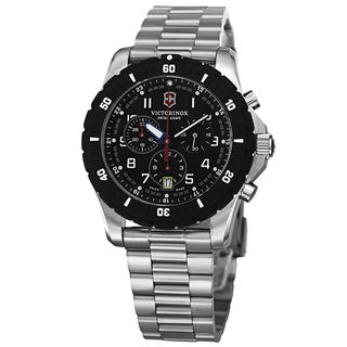 Swiss Army Men's V241679 'Maverick' Black Dial Stainless Steel Bracelet Chronograph Quartz Watch