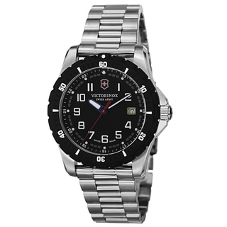Swiss Army Men's V241675 'Maverick' Black Dial Stainless Steel Bracelet Date Quartz Watch