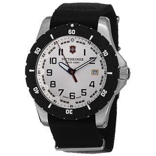 Swiss Army Men's V241676.1 'Maverick' Silver Dial Black Nato Strap Date Quartz Watch