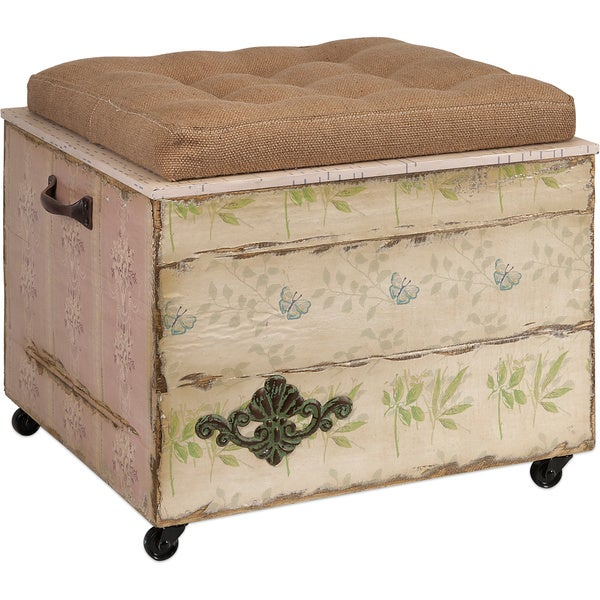 Imax Evelyn Crate Storage Ottoman Bench Coffee Footstool