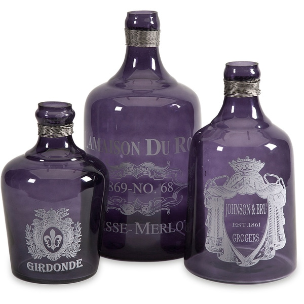 Imax Karlin Purple Glass Bottles (Set of 3)