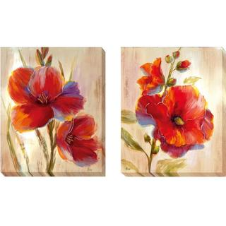 Nan 'Flourescent Blooms I and II' 2-piece Canvas Set