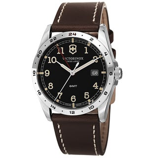 Swiss Army Men's V241648 'Infantry' Black Dial Brown Leather Strap GMT Quartz Watch
