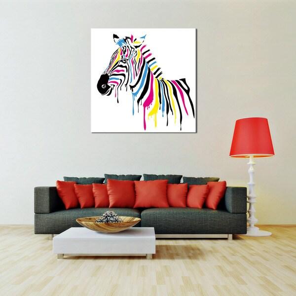 PL Home 'Technicolor Zebra' Large Split-Canvas Print