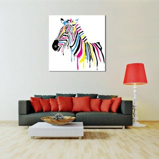 PL Home 'Technicolor Zebra' Medium Split-Canvas Print