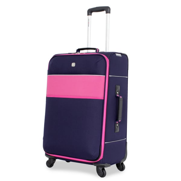 SwissGear Navy/Pink 24-inch Upright Spinner Suitcase