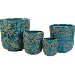 Paisley Blue Planters (Set of 4)