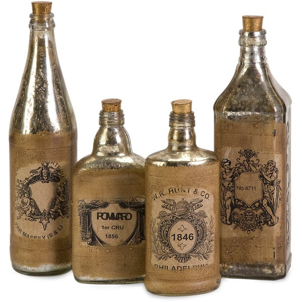 Labeled Vintage Bottles (Set of 4)