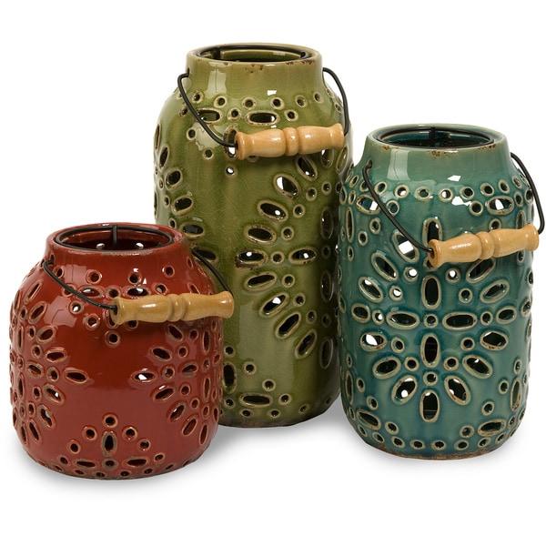 Luna Ceramic Lanterns (Set of 3)